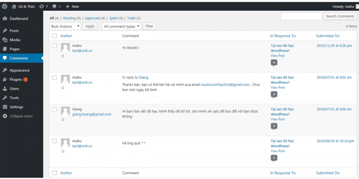 Quản lý bình luận trên Website WordPress