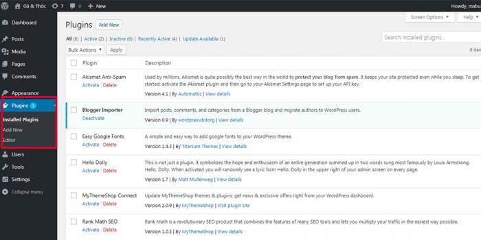Tạo web miễn phí với wordpress 5.0 - module plugins