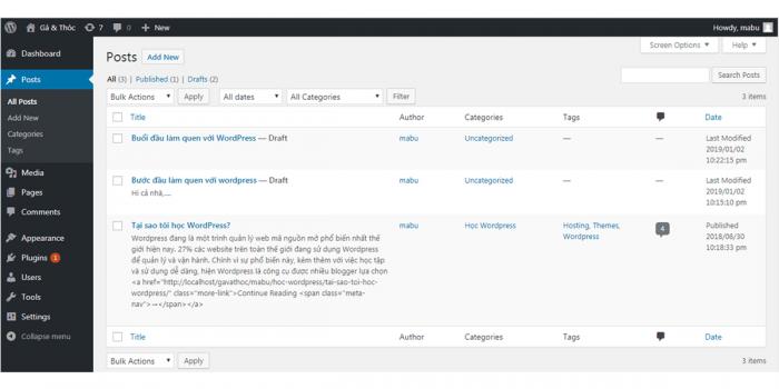 Tạo web miễn phí bằng wordpress module posts