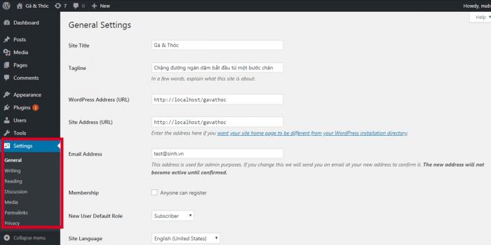 Tạo web miễn phí Module Settings