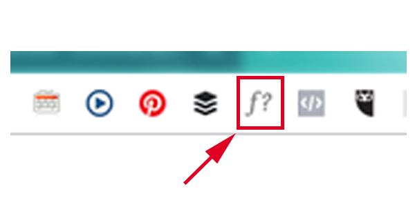 Biểu tượng WhatFont trên thanh công cụ của trình duyệt Chrome