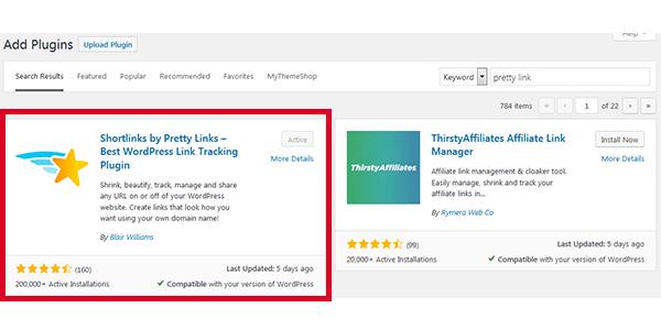 Cài đặt Plugin pretty link lên website wordpress