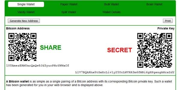 Tạo ví bất định Bitcoin tại bitaddress