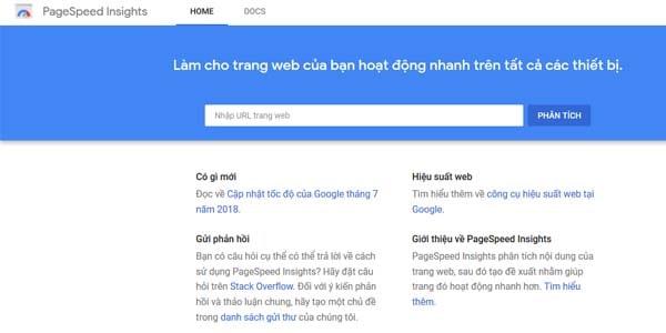 Công cụ kiểm tra tốc độ tải trang Google Pagespeed Insights