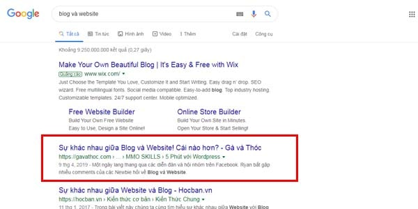 Top 1 cho cụm từ khóa blog và website